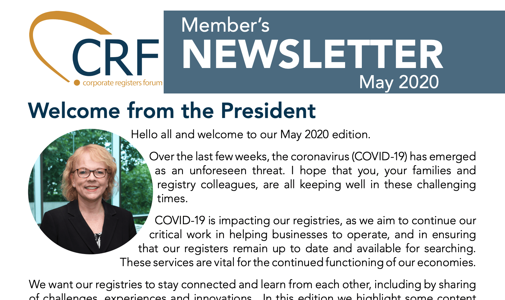 May 2020 CRF Newsletter